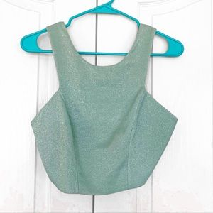 3/$25NWT Topshop Turquoise Shimmer Crop Tank 8